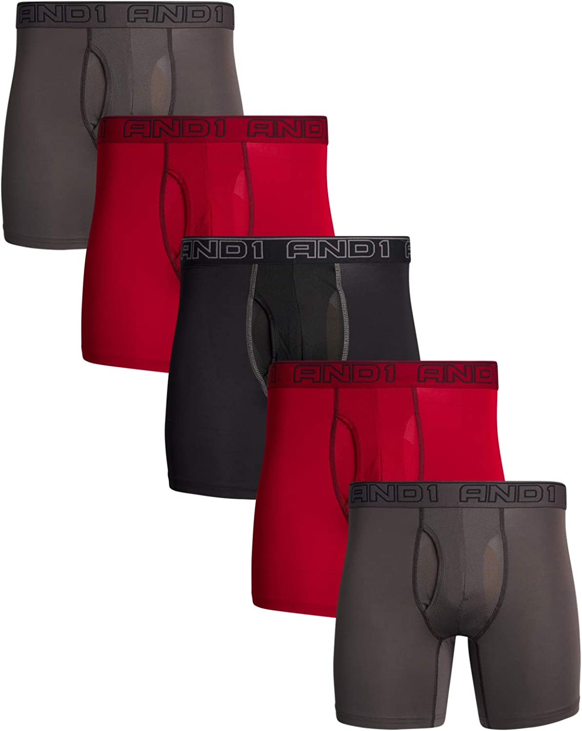AND1 Men's Performance Compression Boxer Briefs (5 Pack)