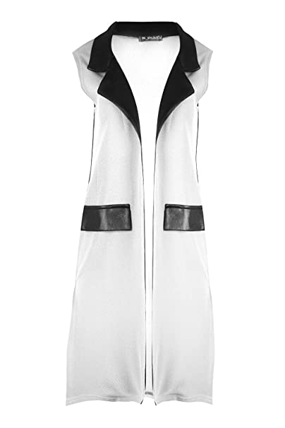 90d14b7950ad5d ... Collar Side Slit Split Cutout Waistcoat Open Front Sleeveless Crepe Coat  Jacket Blazer Duster Cardigan Top Plus Size UK 8-22  Amazon.co.uk  Clothing