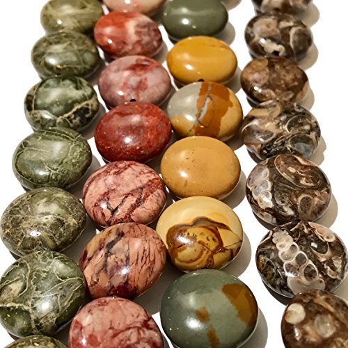 Jasper Coin Beads - [ABCgems] Turritella (Fossil Sea Snails), Wild Horse Picture Jasper, Red Porcelain Jasper, Green Brecciated Jasper (4 Strands Lot) 14mm Coin Beads. Each Strand 8