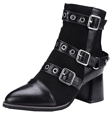Women's Sexy Side Zipper Studded Mid Block Heel Motor Buckle Ankle High Boots