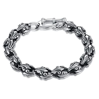 e35c47aa14e1ec MetJakt Punk Crusade Flower Bracelet Solid Men's 925 Sterling Silver  Bracelet for Male Biker Vintage Thai