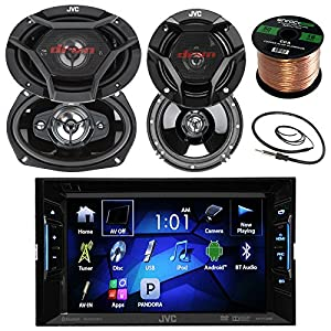 "JVC KWV120BT 6.2"" Touch Screen Car CD/DVD Bluetooth Receiver Bundle Combo With 2x 6.5"" 2-Way And 2x 6x9"" Inch 4-Way Audio Coaxial Speakers + Enrock 22"" AM/FM Antenna + 50 Ft 16G Speaker Wire"