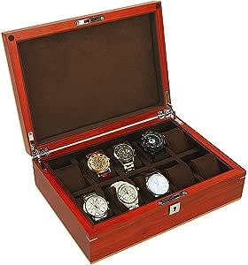 Liuwubing Caja de joyería de Madera Compartimiento Caja de Almacenamiento Reloj de Las Mujeres Caja de Reloj de los Hombres Caja de joyería de Rejilla Diez Caja de colección de Regalos: Amazon.es: