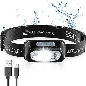 Cocoda Linterna Frontal, LED USB Recargable Linterna Cabeza con 4 Modes de Luz, Sensor de Movimiento, 160 Lúmenes, Impermeable IPX6 y Ajustable Ángulo ...