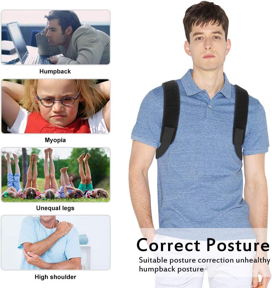 Chengtao Sports Correction de Posture Dos Dos /Épaule Ceinture Noir R/églable Respirant Bandouli/ère Bandouli/ère Bandage Dos Musculation pour Homme Femme