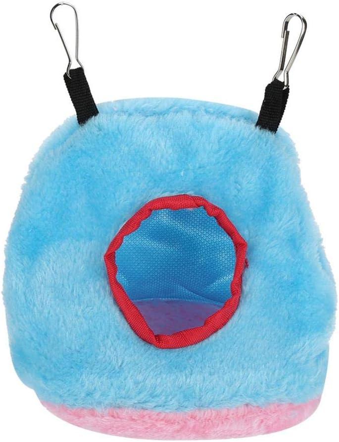 Socialme-EU Nido de Loro Pájaro de Felpa Hamaca de Algodón Cálido Redondo Colgante Columpio Cueva Casa Mascotas Pequeñas (S-Azul)