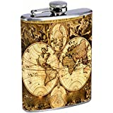 Perfection In Style Stainless Steel Flask Vintage World Maps Design 003 8oz
