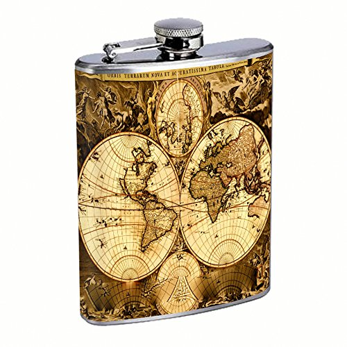 Perfection In Style Stainless Steel Flask Vintage World Maps Design 003 8oz - Stainless Steel Classic Hip Flask