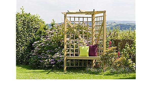 Pergola madera asiento de jardín Arbour metal works para dolores de muebles diseño cilíndrico de almacenamiento banco de esquina (ref, SA): Amazon.es: Jardín