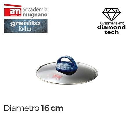 Tapa vidrio 16cm para ollas cacerolas y sartenes - Accademia Mugnano GRANITO BLU