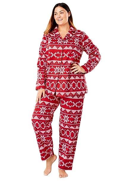 536505e212 Women s Plus Size Printed Flannel Pj Set at Amazon Women s Clothing store