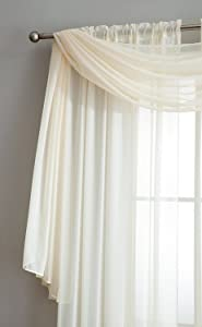 "Empire Home Unlimited Solid Wide Window Sheer Scarf - 54"" Wide X 216"" Long (Elegant Beige)"