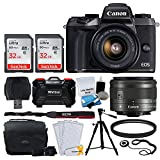 Canon EOS M5 Mirrorless Digital Camera + EF-M 15-45mm IS STM Lens (Graphite) + 64GB Memory Card + Deluxe Camera Bag + Quality Tripod + 49mm UV Filter + USB Card Reader Cleaning Kit – Accessory Bundle