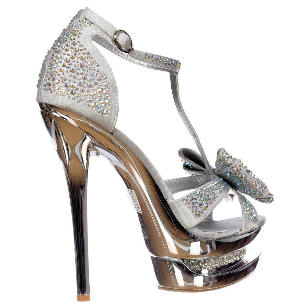 700f598ef44 Onlineshoe Silver Diamante Crystal Jewelled Bow High Heel - Diamante  Stiletto Heel - Silver UK 7 - EU40  Amazon.co.uk  Shoes   Bags