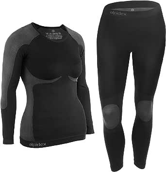 ALPIDEX Ropa Interior para esquí, térmica y Funcional para Mujer - Transpirable, cálida y de Secado rápido