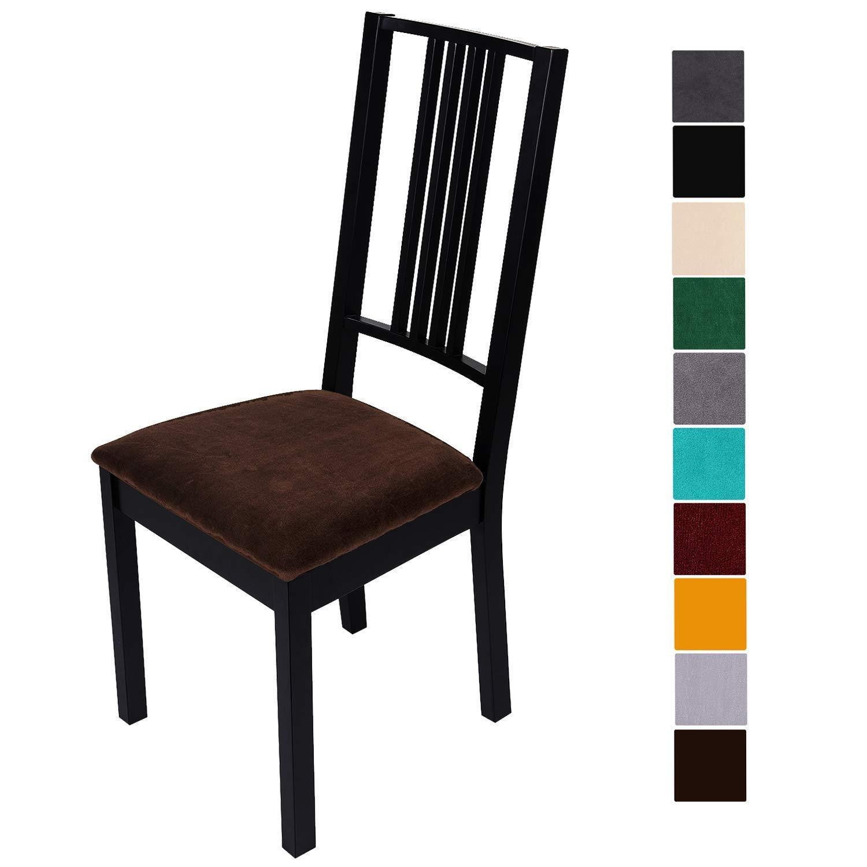 Smiry Housses de si/ège extensibles pour salle /à manger Set of 1 housse de chaise en velours rembourr/ée pour chaise de salle /à manger housses de chaise amovibles et lavables avec attaches beige
