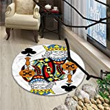 King Round Rugs for Bedroom King of Clubs Playing Gambling Poker Card Game Leisure Theme without Frame ArtworkOriental Floor and Carpets Multicolor