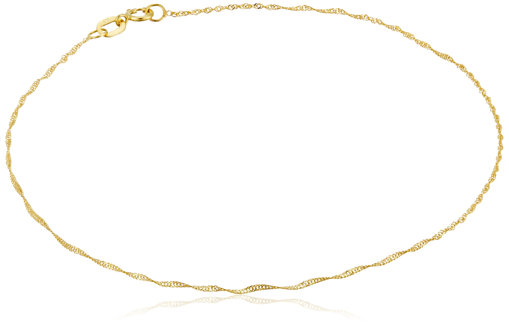 14k Yellow Gold Twist Curb Chain Anklet, 9''