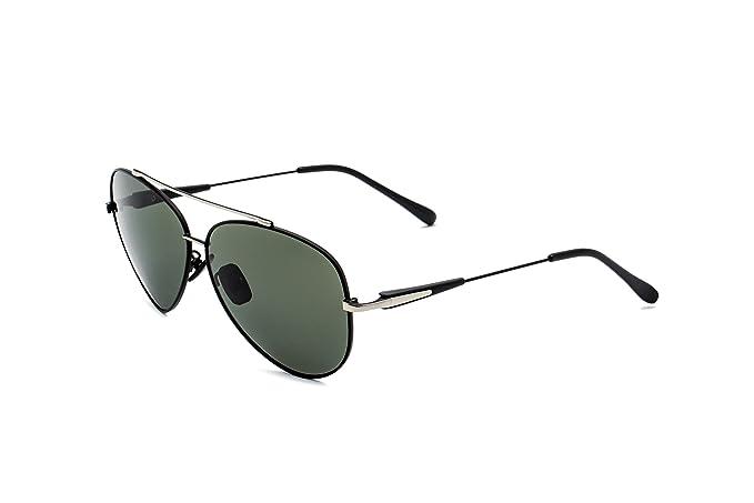 CHB Gafas de Sol Polarizadas El Estilo de Aviador Marco Metal Protección UV 400 Hombres Con