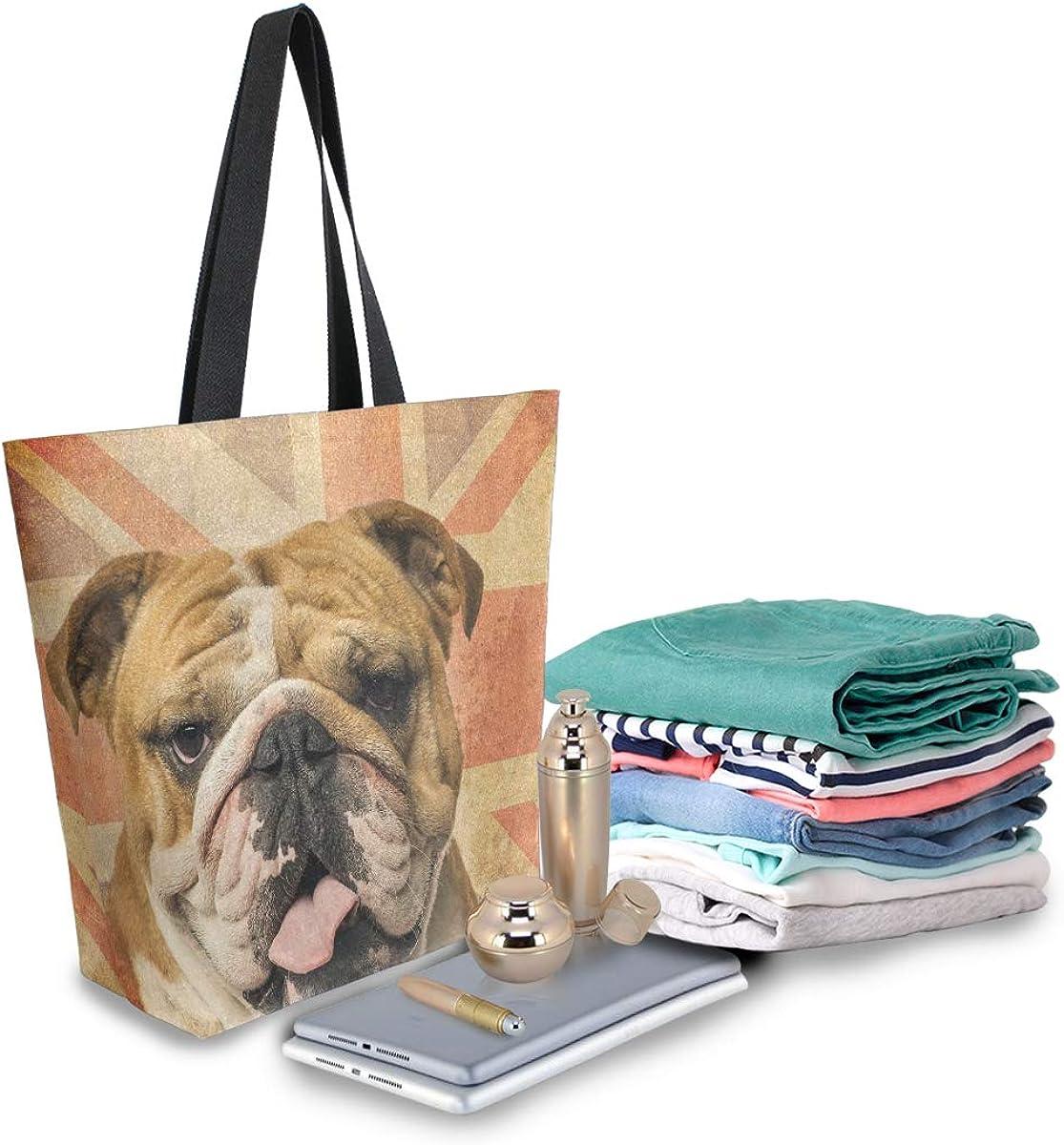carlin r/éutilisable Bigjoke Sac fourre-tout en toile pour femme Motif bouledogue anglais sac de rangement portable pour les courses en plein air. sac /à main