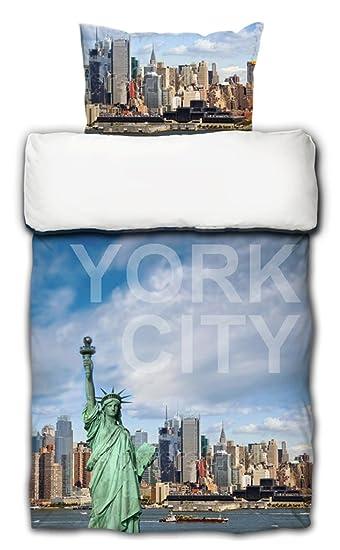 Bettwäsche New York Digitaldruck Freiheitsstatue Mako Satin 135x200