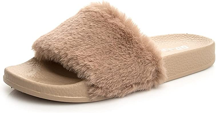 Details about  /Women Fuzzy Faux Fluffy Suede Fur Slippers Indoor Home Slip On Slides Size 7-8