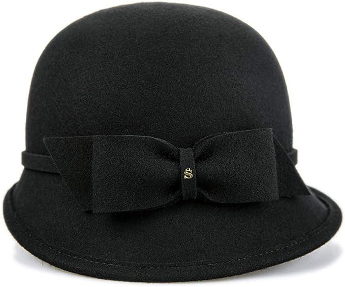 kyprx Señoras y señoras viajan Sombrero de Lana con Lazo Femenino ...