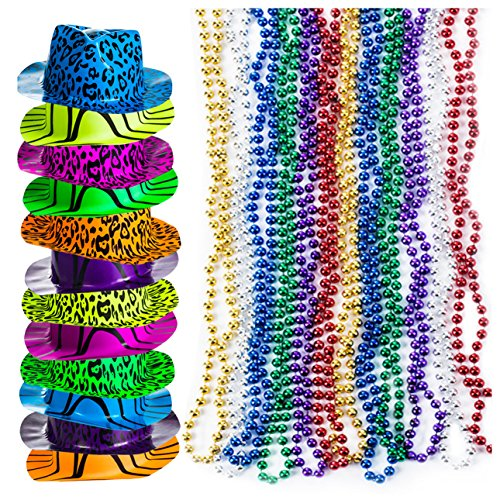 Party Favors - Neon Party Hats w/ Bead Necklaces (Total 48 PC) - Party Supplies by Tigerdoe -