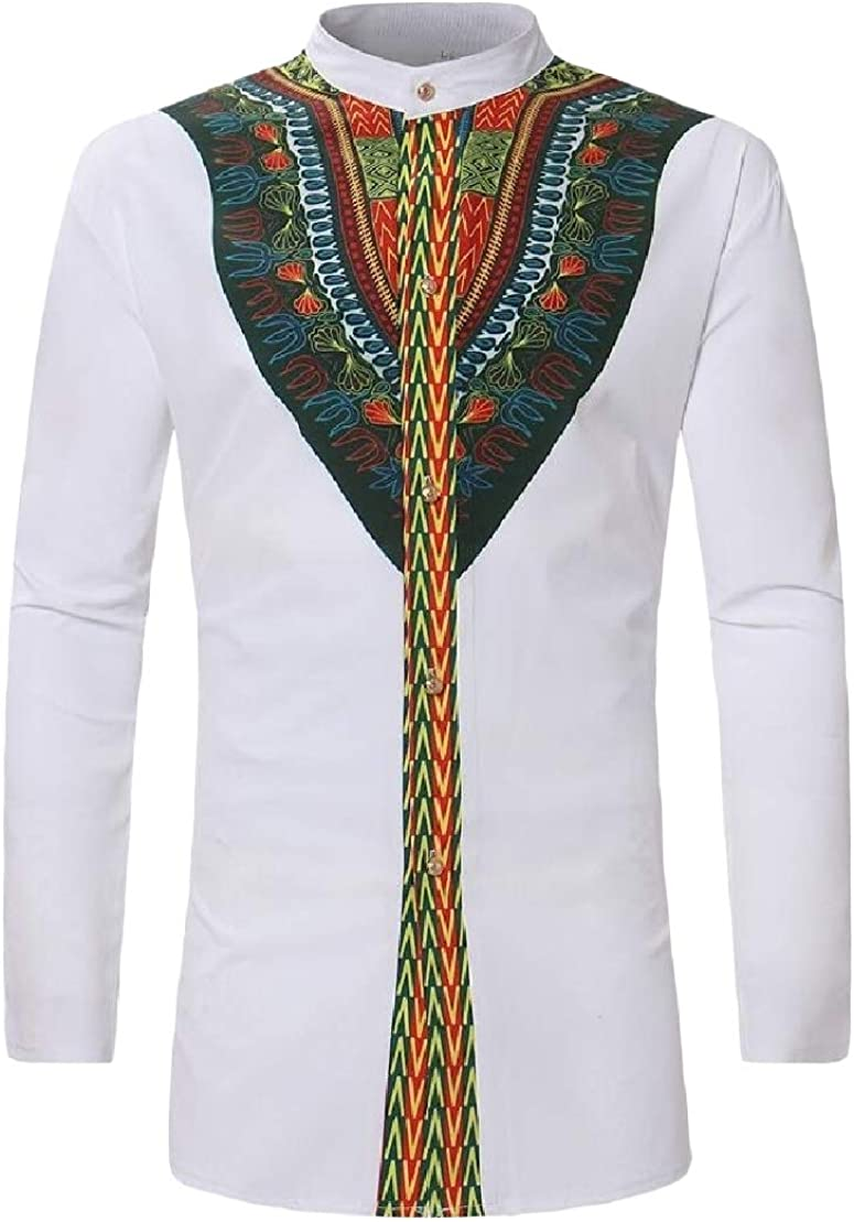 Wofupowga Mens Casual Africa Print Folk Style Top Long-Sleeve Shirts