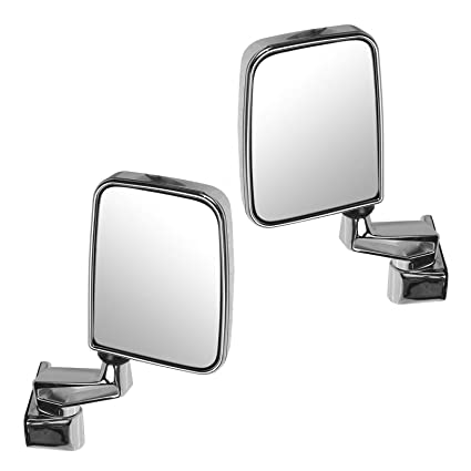 Manual Side View Mirrors Folding Chrome Pair Set for 87-02 Jeep Wrangler AM Autoparts