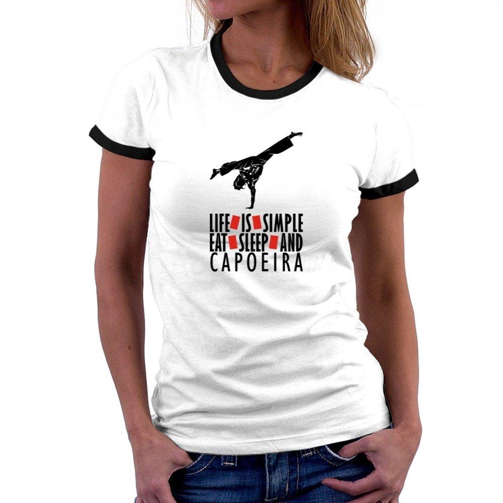 Teeburon LIFE IS SIMPLE EAT , SLEEP Capoeira Ringer Women T-Shirt TEE00004958E2G9084300