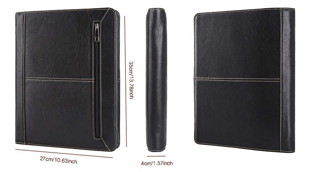 Cohokori Handmade Leather Conference Folder Zipped with iPad Pro 12.9 Stand Protective Case,Business Portfolio Padfolio Organizer Case with A4 Size Notepad Holder,Black 2015//2017