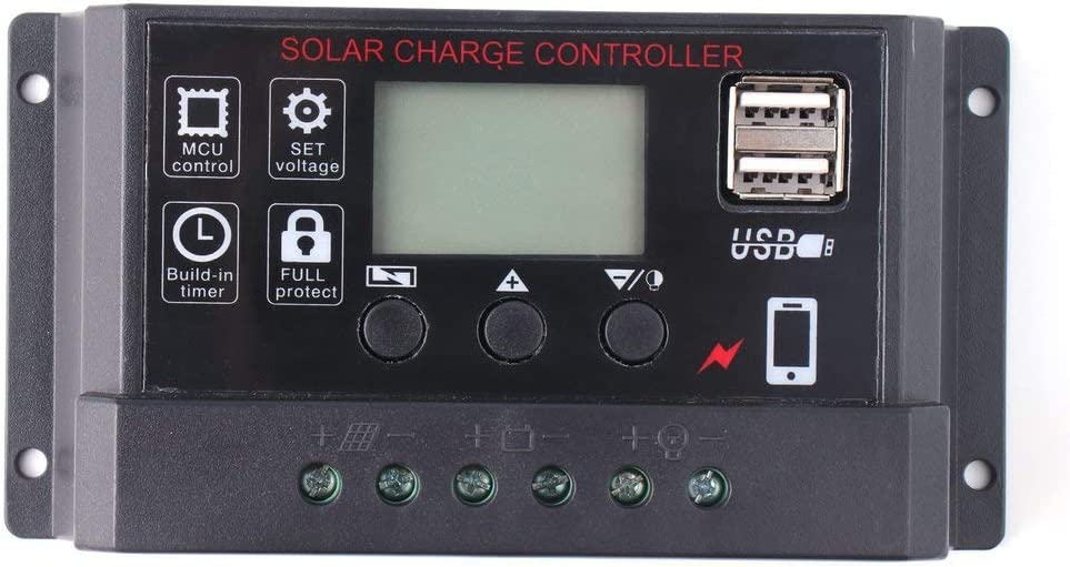 FDBF Portable 30A Amp Solar Panel Battery Regulator Digital LCD Charger Controller