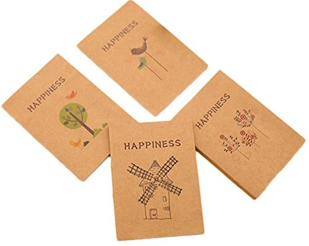 Cosanter 4 Pcs/Pack Sketchbook Mini 40 Pages Kraft Cover Lovely Pattern Notebook for Drawing Painting
