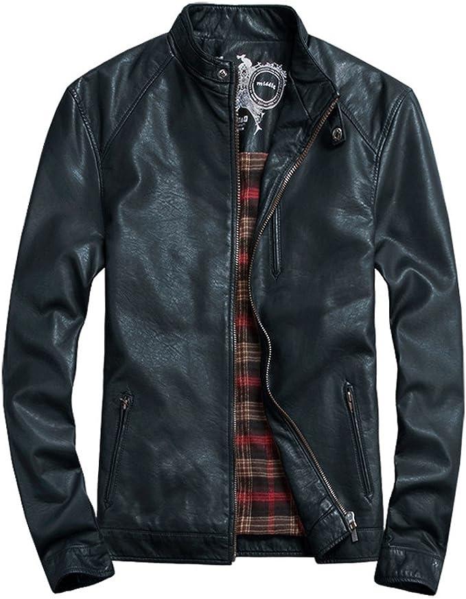 UUstar® Herren Biker Stil Reißverschluss Taschen Faux Leder