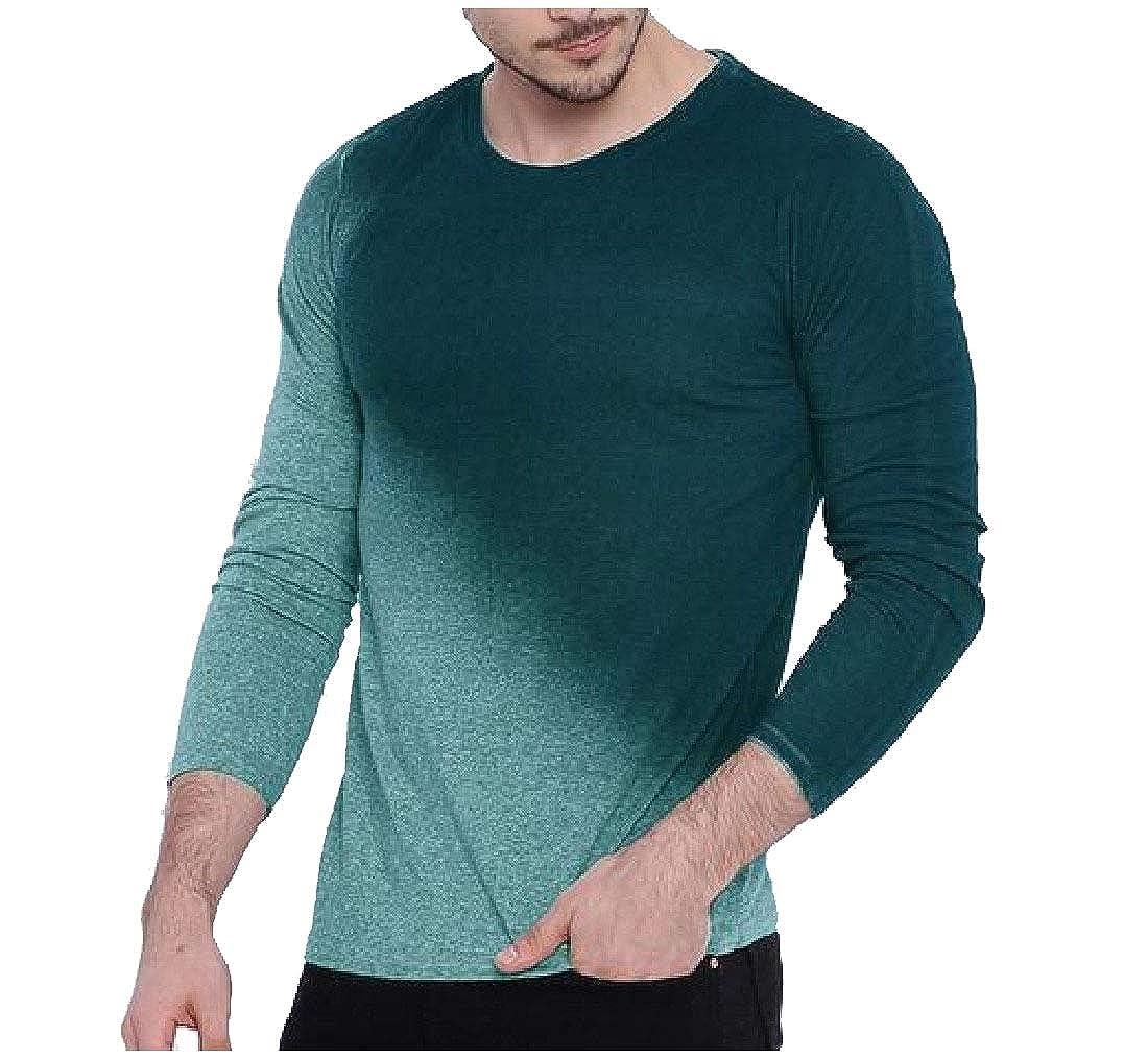 Mfasica Men Gradients Crewneck Slim Long-Sleeve Pullover Fall T-Shirt