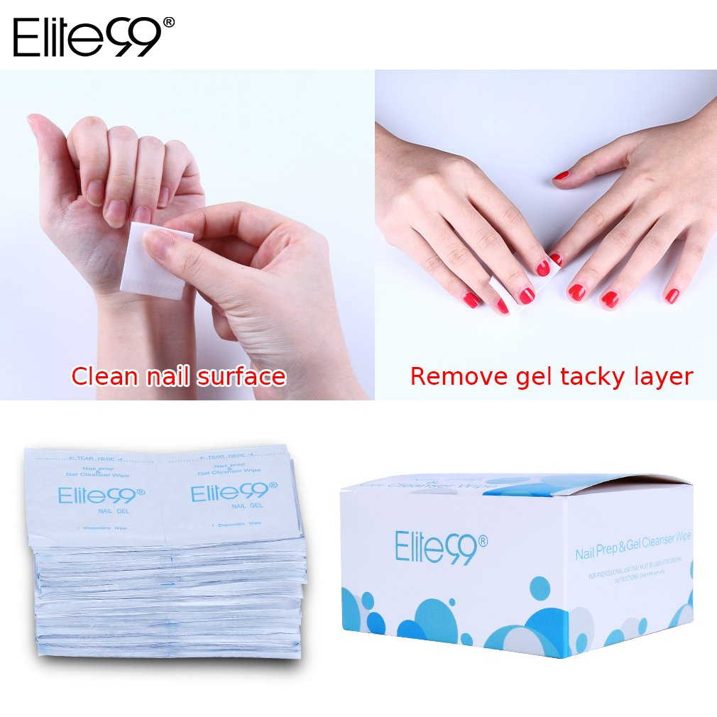 Elite99 50/100pcs Cleaning Cotton Pads Nail Prep & Gel Cleanser Wipes Clean Nail Surface Sticky Residue Remover Gel Shine UV/LED (50pcs) BAILUN
