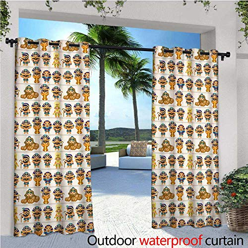 - Egyptian Outdoor Privacy Curtain for Pergola Cute Kids Design with Egyptian Cartoon Ancient Figures King Queen Myth Pattern Thermal Insulated Water Repellent Drape for Balcony W120