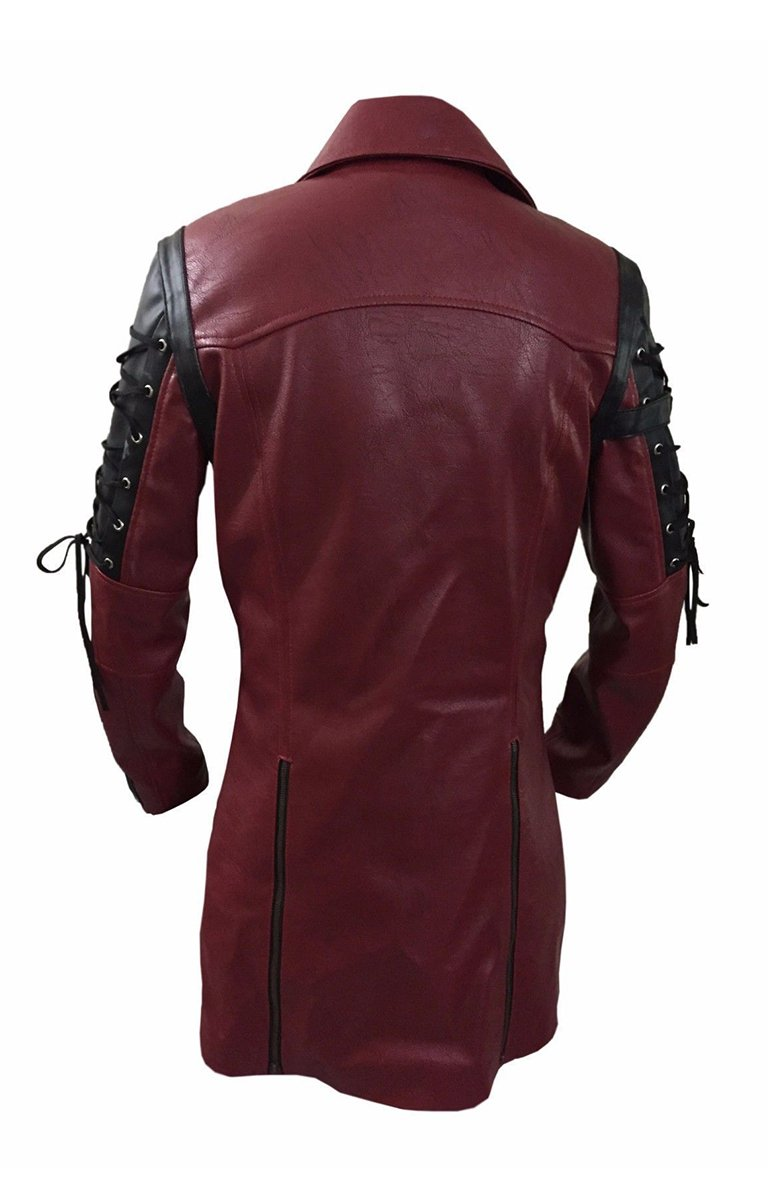 Mens Red Goth Matrix Trench Coat Steampunk Gothic of Month 4