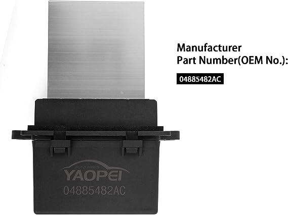 YAOPEI 04885482AC - Resistencia del Ventilador del Motor del Soplador: Amazon.es: Coche y moto
