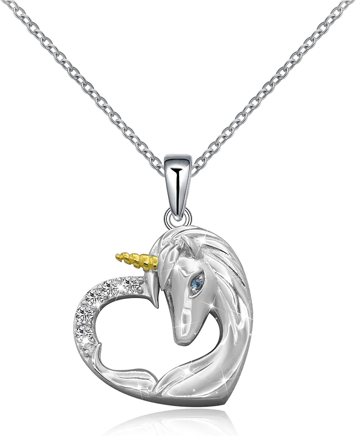 ACJNA 925 Sterling Silver Unicorn Pendant Necklace Rings Gifts for Girls Women