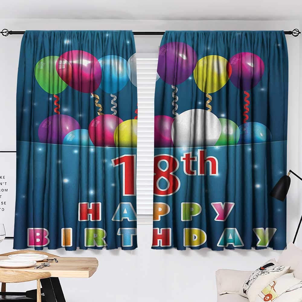 18th Birthday Curtain for Living Room Party Time with Colorful Flying Balloons on Star Like Backdrop Happiness Modes Darkening Curtains Blue and White W55 x L39 by Jinguizi (Image #2)