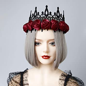 Womens Flower Lace Crown Red Rose Hairband Ball Party Hair Hoop Lady Headdress