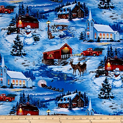 Elizabeth's Studio Country Christmas Scenic Blue Fabric by The Yard,