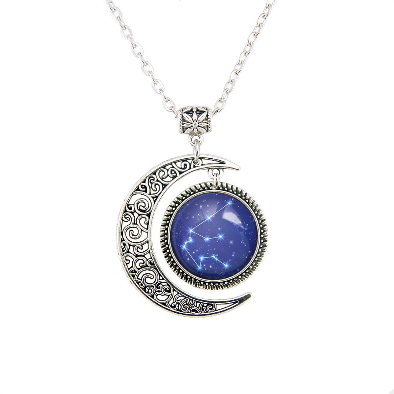 Amazon linsh moon zodiac constellation necklace pendant horoscope necklace zodiac sign pendant zodiac necklaces constellation jewelry art gift for men for women mozeypictures Images