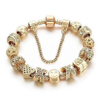 c79b9f93aeef0 Charm Bracelets for Women Gold Plated Snake Chain Heart Shape Smile  Rhinestone Beads Charming Girls Mom Gift