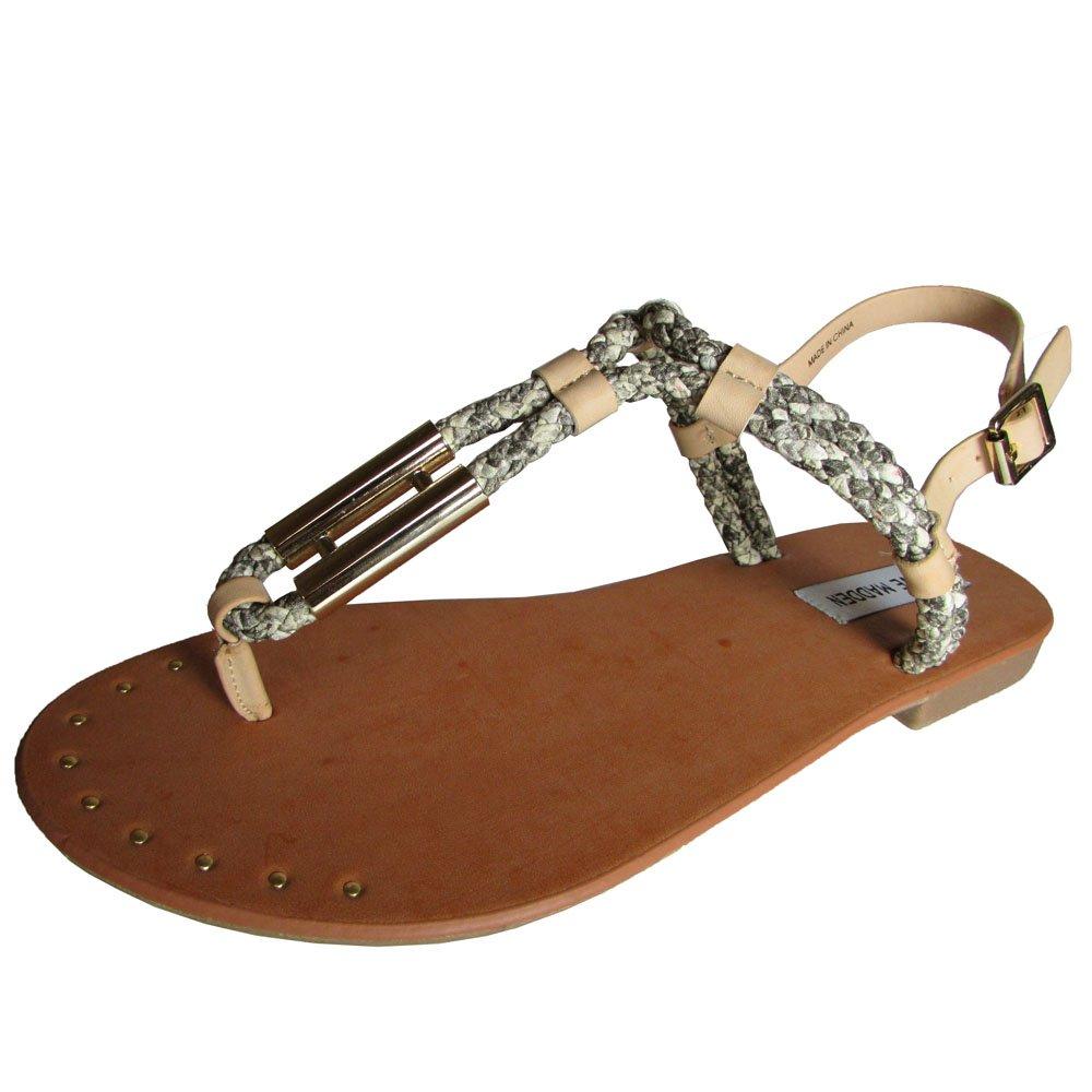 Steve Madden Womens Braidie Thong Beach Sandal Shoe, Natural Multi, US 7.5