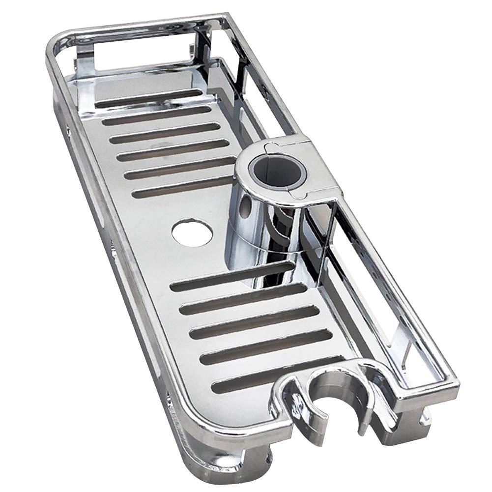 sin perforaciones SUNERLORY estante de almacenamiento para ba/ño estante de ducha extra/íble multifunci/ón 285x40mm plateado bandeja rectangular para barra de levantamiento anti bacterias