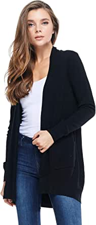 Alexander + David Women's Basic Open Front Long Sleeved Soft Knit Cardigan Sweater Lightweight with Pockets