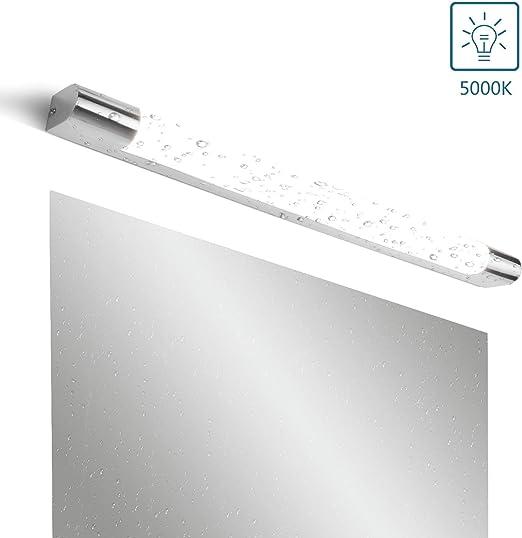 MantoLite LED L/ámparas de Pared,Moderno Dormitorio Iluminaci/ón de Interior L/ámparas Apliques para Ba/ño Espejo Cuarto Vanidad Imagen,Acr/ílico 66CM 18W 5000K Acabado Cromado Luz Lectura